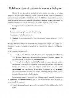 Rolul unor elemente chimice în sistemele biologice - Pagina 1