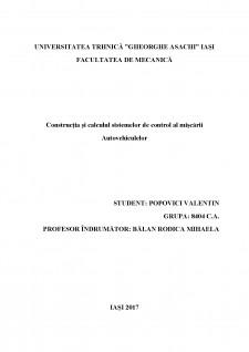 Construcția și calculul sistemelor de control al mișcării autovehiculelor - Pagina 1