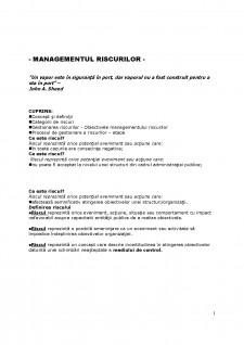 Managementul riscurilor - Pagina 1