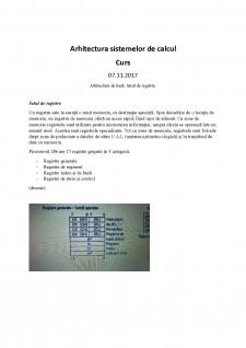 Arhitectura sistemelor de calcul - Arhitectura de baza, Setul de registre - Pagina 1