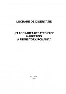 Elaborarea strategiei de marketing a firmei York România - Pagina 1