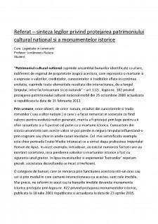 Sinteza legilor privind protejarea patrimoniului cultural national si a monumentelor istorice - Pagina 1