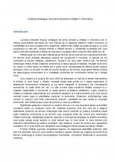 Analiza strategiei de țintire directă a inflației în România - Pagina 1