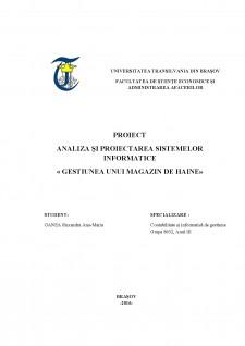Analiza și proiectarea sistemelor informatice - Gestiunea unui magazin de haine - Pagina 1