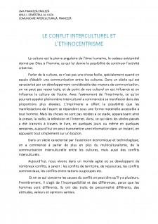 Le conflit interculturel et l'ethnocentrisme - Pagina 1