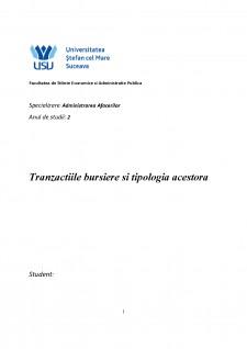 Tranzactiile bursiere si tipologia acestora - Pagina 1