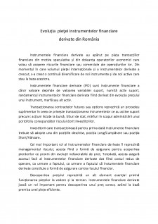Evoluția pieței instrumentelor financiare derivate din România - Pagina 1