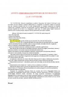 Auditul performantei sistemelor informatice la SC Conver SRL - Pagina 1