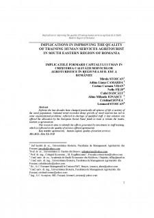 Implications în improving the quality of training human services agritourist în south eastern region of România - Pagina 1