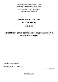 Distributia pe culturi a principalelor insecte daunatoare si metode de combatere - Pagina 1