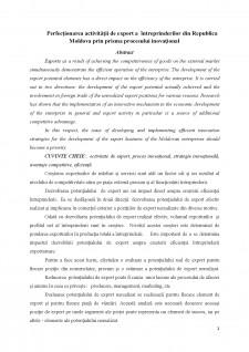 Perfecționarea activității de export a întreprinderilor din Republica Moldova prin prisma procesului inovațional - Pagina 1