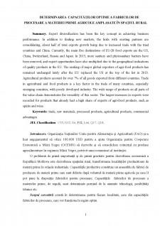 Determinarea capacităților optime a fabricilor de procesare a materiei prime agricole amplasate în spațiul rural - Pagina 1