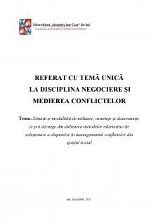 Soluționarea disputelor în managementul conflictelor din spațiul social - Pagina 1