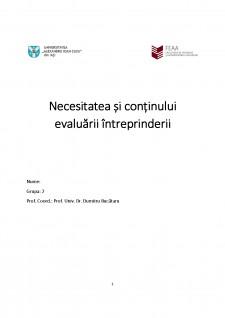 Necesitatea și continutul evaluării intreprindeii - Pagina 1