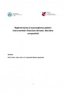 Reglementarea și supravegherea piețelor instrumentelor financiare derivate - Abordare comparativă - Pagina 1