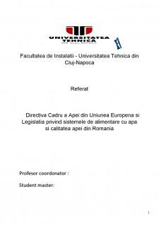 Directiva Cadru a apei din Uniunea Europenă și legislația privind sistemele de alimentare cu apă și calitatea apei din România - Pagina 1