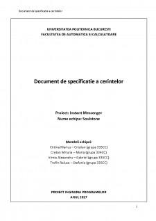 Documentul de specificație a cerințelor - Instant Messenger - Pagina 1