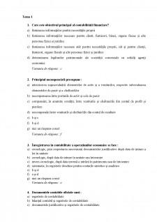 Teste grilă Contabilitate - Pagina 1