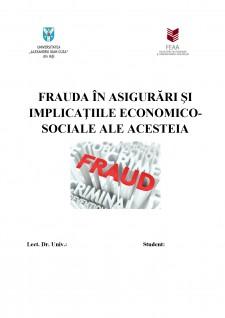 Frauda în asigurări și implicațiile economico-sociale ale acesteia - Pagina 1