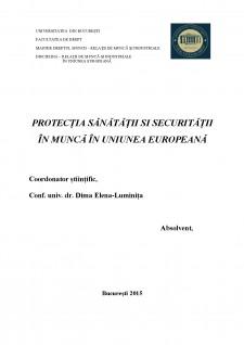 Protecția sănătății și securității în muncă în Uniunea Europeană - Pagina 1