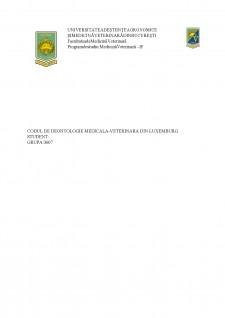 Codul de deontologie medicala-veterinara din Luxemburg - Pagina 1