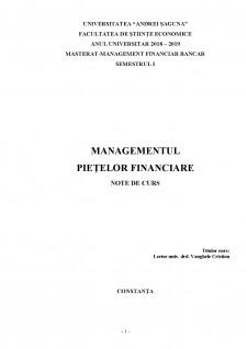 Managementul piețelor financiare - Pagina 1