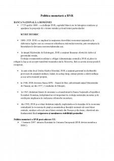 Politica monetară a BNR - Pagina 1