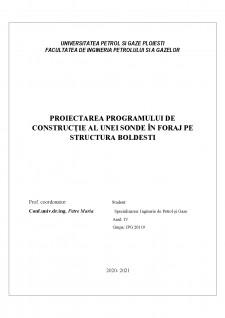 Proiectarea programului de construcție al unei sonde în foraj pe structura Boldesti - Pagina 1