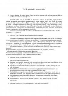 Sisteme de Control Intern - Test de aprofundare a cunoștințelor - Pagina 1