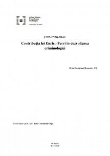 Contribuția lui Enrico Ferri în dezvoltarea criminologiei - Pagina 1