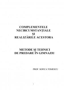 Complementele necircumstanțiale și realizările acestora - Pagina 1