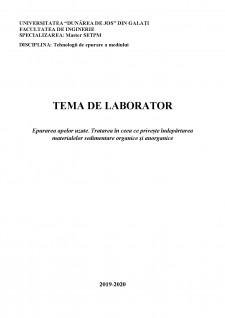 Epurarea apelor uzate - Tratarea în ceea ce privește îndepărtarea materialelor sedimentare organice și anorganice - Pagina 1