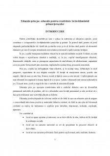 Educația prin joc - educație pentru creativitate în învățământul primar-prescolar - Pagina 1