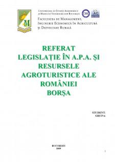 Legislație în a.p.a. și resursele agroturistice ale României Borșa - Pagina 1