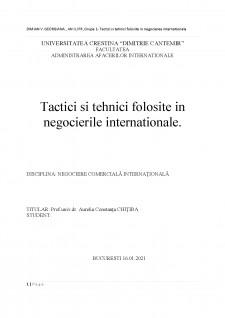 Tactici și tehnici în negocierea internațională - Pagina 1