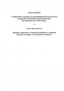 Tipologia comparativă a categoriei gramaticale a genului în germană și română - Caracteristici de traducere - Pagina 1