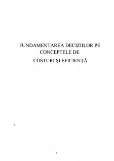 Fundamentarea deciziilor pe conceptele de costuri și eficiență - Pagina 1