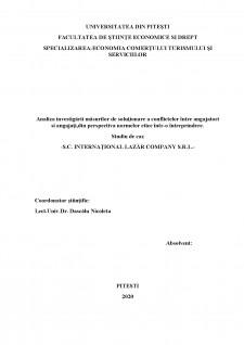 Analiza investigării măsurilor de soluționare a conflictelor între angajatori și angajați, din perspectiva normelor etice, într-o întreprindere - Pagina 2