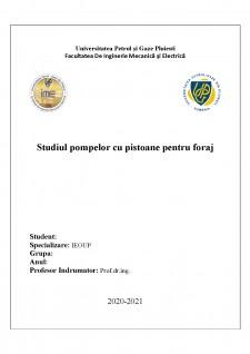 Studiul pompelor cu pistoane pentru foraj - Pagina 1