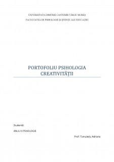 Portofoliu psihologia cretivitatii - Pagina 1