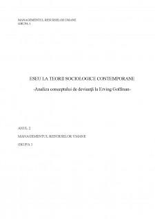 Analiza conceptului de devianță la Erving Goffman - Pagina 1