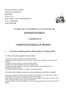 Planificare calendaristică - geografie generală - Pagina 1