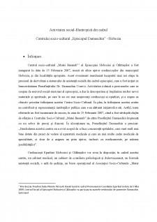 Activitatea social-filantropica din cadrul Centrului socio-cultural Episcopul Damaschin - Slobozia - Pagina 1