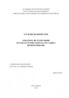 Strategia de pătrundere pe o piață internațională în cadrul Bitdefender SRL - Pagina 2