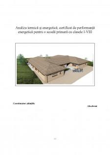 Analiza termică și energetica, certificat de performanță energetică pentru o scoală primară cu clasele I-VIII - Pagina 1