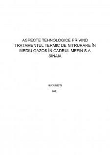 Aspecte tehnologice privind tratamentul termic de nitrurare în mediu gazos în cadrul Mefin SA Sinaia - Pagina 1