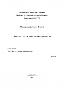 Managementul clasei de elevi - Influențe ale ergonomiei școlare - Pagina 1