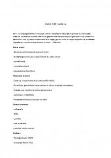 Status post plastie lia - Pagina 1