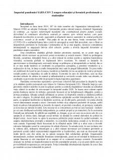 Impactul pandemiei SARS-COV 2 asupra educației și formării profesionale a studenților - Pagina 1