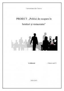 Politici de ocupare în hoteluri și restaurante - Pagina 1